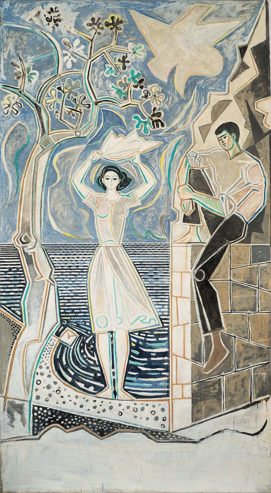 John Craxton Couple by the Sea Panorama Revisited 1950s