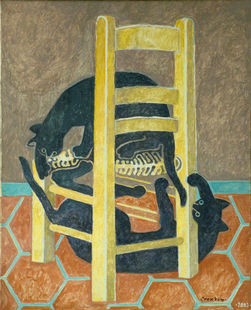 John Craxton - Cretan Cats, 2003. Tempera on canvas, 56 x 45.75 cm, Craxton Estate (on loan to Fitzwilliam Museum, Cambridge)